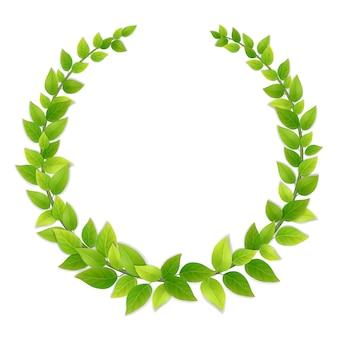 Guirlande de feuilles vertes fraîches.