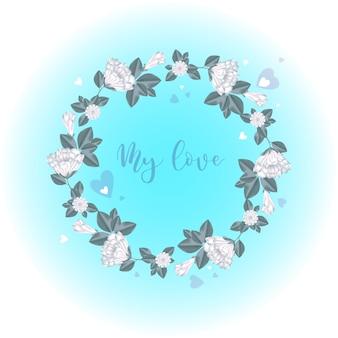 Une guirlande de fleurs blanches et des boutons avec des coeurs.