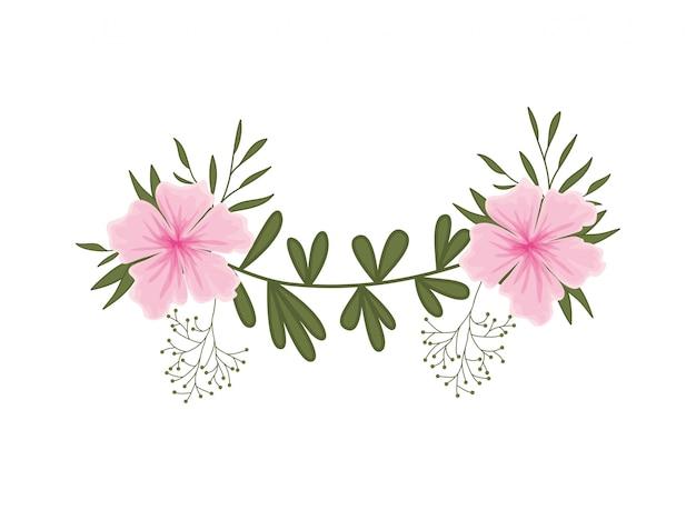 Guirlande de fleurs et feuilles icône isolé