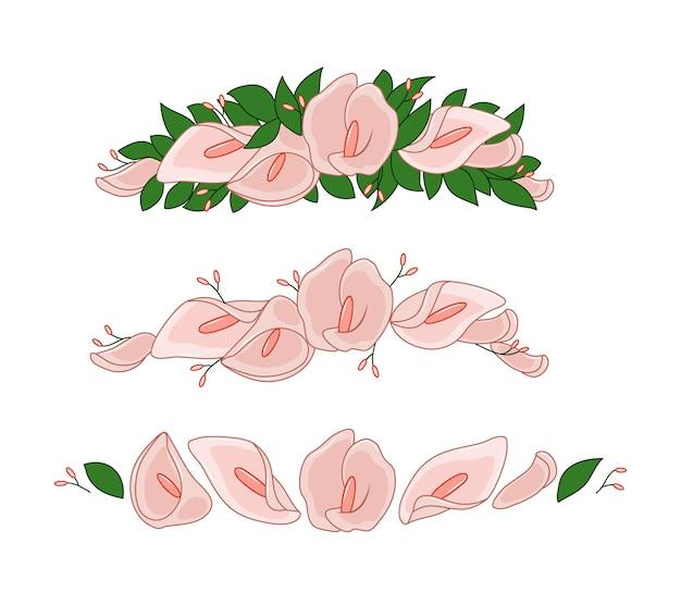 Guirlande de fleurs de lys calla et de feuilles
