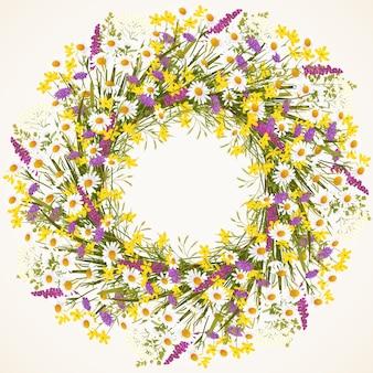Guirlande de fleurs sauvages et illustration vectorielle d'herbe