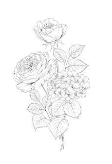 Guirlande florale d'hortensia et rose sur fond blanc.