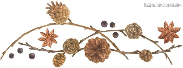 Guirlande de forêt avec des cônes et des branches