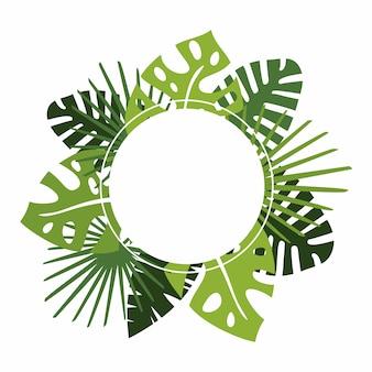 Guirlande ou guirlande circulaire avec feuilles tropicales vertes et copie.