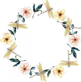 Guirlande de libellules tendres à l'aquarelle, fleurs roses