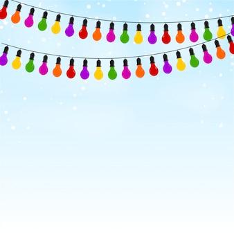 Guirlande de lumières colorées sur fond bleu festif. illustration vectorielle