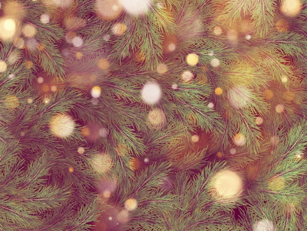 Guirlande lumineuse bokeh dorée sur l'arbre de noël.