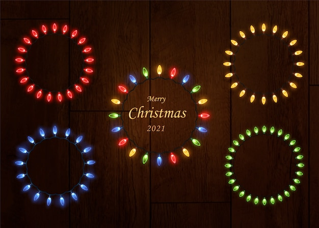 Guirlande lumineuse de noël. cadre lumineux festif fait de lumières de noël lumineuses.