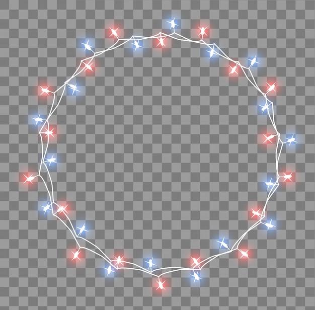 Guirlande lumineuse avec de petites lampes. décorations de noël guirlandes effets de lumières. lumières incandescentes carte de voeux de vacances de guirlandes de noël. illustration, clipart.