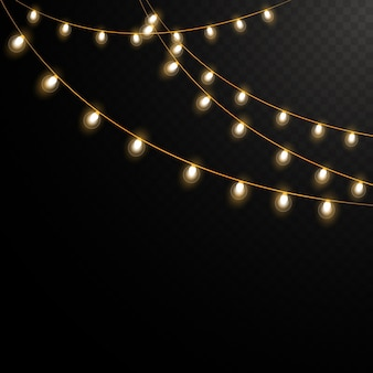 Guirlande lumineuse vintage isolé
