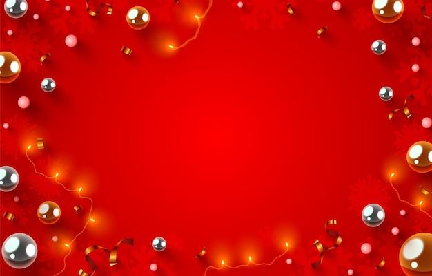 Guirlande de mise en page de décorations de noël et concept de vacances de nouvel an d'hiver de confettis comme copie de vue de dessus...