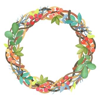 Guirlande de noël aquarelle de branches, feuilles et fleurs