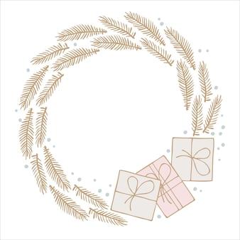 Guirlande de noël cadre de boîtes-cadeaux branches à feuilles persistantes avec lieu de copie