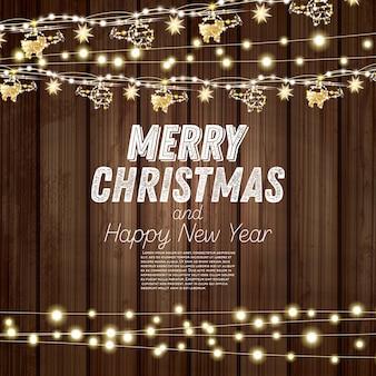 Guirlande d'or avec des hélicoptères et des étoiles sur fond de bois. joyeux noël et bonne année concept. illustration vectorielle.