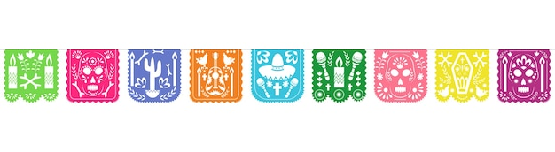 Guirlande de papel picado colorée pour la célébration des fêtes de dia de los muertos