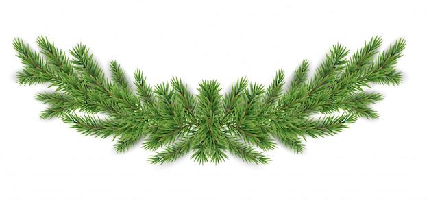 Guirlande réaliste de branches de sapin de noël et nouvel an