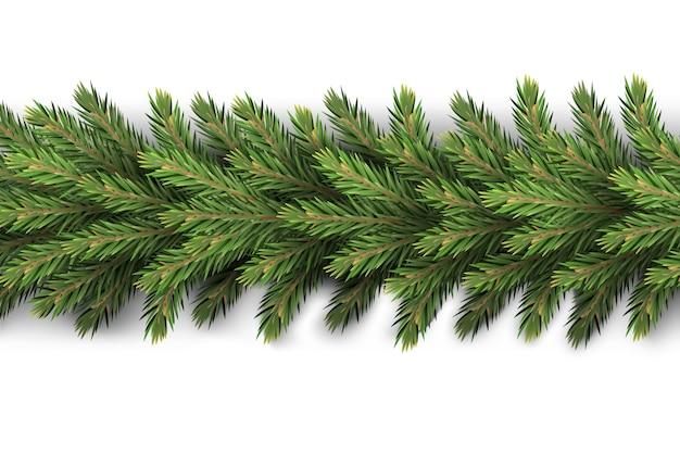 Une guirlande réaliste et détaillée du nouvel an a fait des branches de pin pour créer des cartes postales, des bannières pour les éléments de décoration du site réaliste de noël.