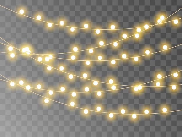 Guirlande réaliste, lumières de noël isolées