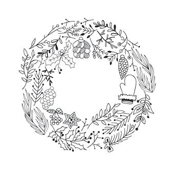 Guirlande ronde de noël dessinés à la main avec des branches d'arbres cônes de baies de houx étoile et illustration de mitaine