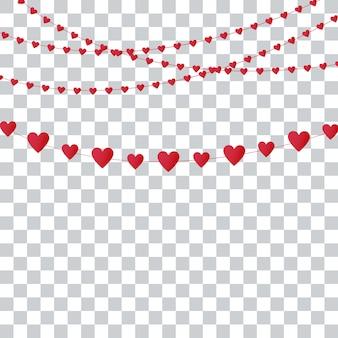 Guirlandes de coeur sur transparent