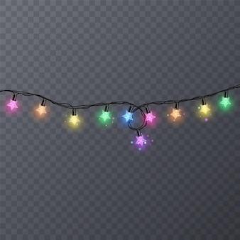 Guirlandes colorées avec forme d'étoiles sur fond transparent