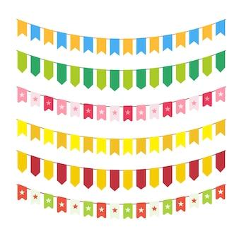 Guirlandes de drapeau de vecteur pour la conception de cartes d'invitation