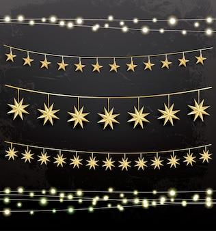 Guirlandes avec des étoiles. ensemble de décoration. illustration vectorielle.