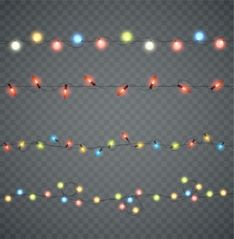 Guirlandes. lumières rougeoyantes de noël led de différentes couleurs. décoration du nouvel an.
