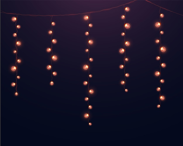Guirlandes lumineuses réalistes. lumières incandescentes pour la conception des vacances de noël.
