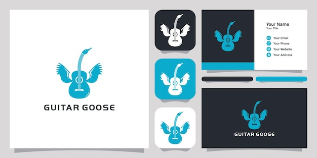 Guitar goose logo icône symbole modèle logo et carte de visite