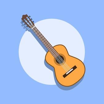 Guitare acoustique classique. guitare classique silhouette isolée. collection d'instruments à cordes musicales. illustration eps 8 dans un style plat. pour votre design et votre entreprise.