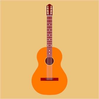Guitare acoustique. musique art classique instrument jazz. caricature de club d'équipement en bois rétro isolé