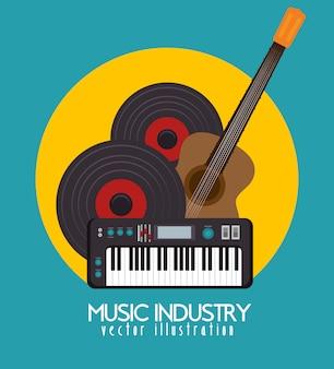 Guitare acoustique et piano icône isolé