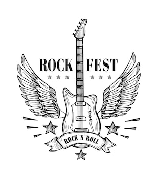 Guitare avec des ailes. affiche vintage du festival de musique