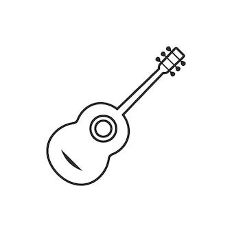 Guitare classique fine ligne. concept de résonance, ukulélé, divertissement, phonétique, fête, création musicale. plat, style minimal, tendance, moderne, logotype, conception graphique, vecteur, illustration, blanc, fond