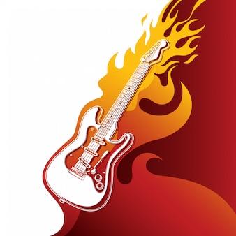 Guitare électrique en feu