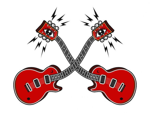 Guitare électrique avec illustration vectorielle psycedelic concept
