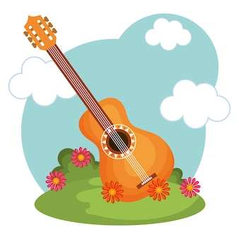 Guitare, fleurs, herbe verte et ciel bleu