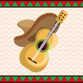 Guitare avec des icônes de chapeau mexicain