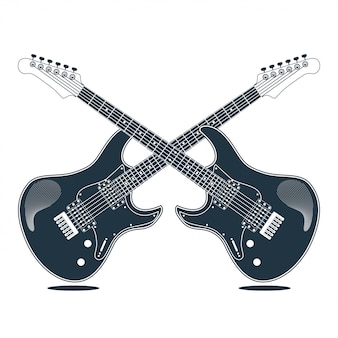 Guitare instrument électrique vector illustration design