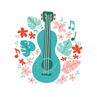 Guitare à la main dessinée illustration dessinée. affiche de magasin d'instruments de musique.