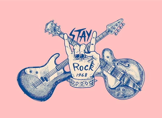 Guitare et main pour croquis grunge dessiné festival de jazz avec un tatouage ou un tshirt