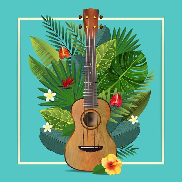 Guitare rétro avec des feuilles tropicales.