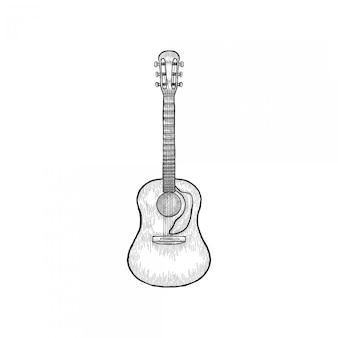 Guitare vintage dessiné à la main gravé