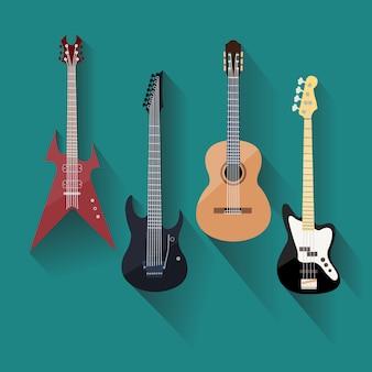 Guitares acoustiques et électriques dans un style plat