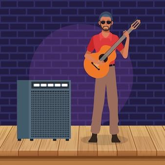 Guitariste et amplificateur de son, groupe de musique jazz