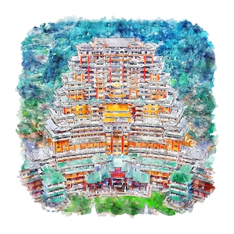 Guizhou chine aquarelle croquis illustration dessinée à la main