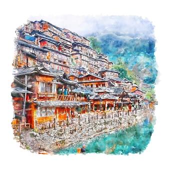 Guizhou chine aquarelle croquis illustration dessinée à la main