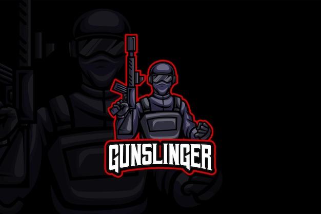 Gun slinger - modèle de logo esport