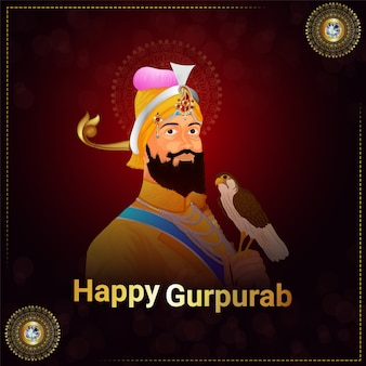 Guru gobind singh anniversaire carte de voeux ou bannière